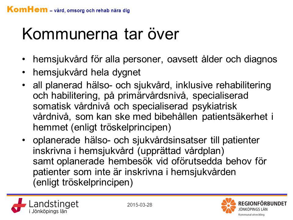KomHem – vård, omsorg och rehab nära dig 2015-03-28 Kommunerna tar över hemsjukvård för alla personer, oavsett ålder och diagnos hemsjukvård hela dygn