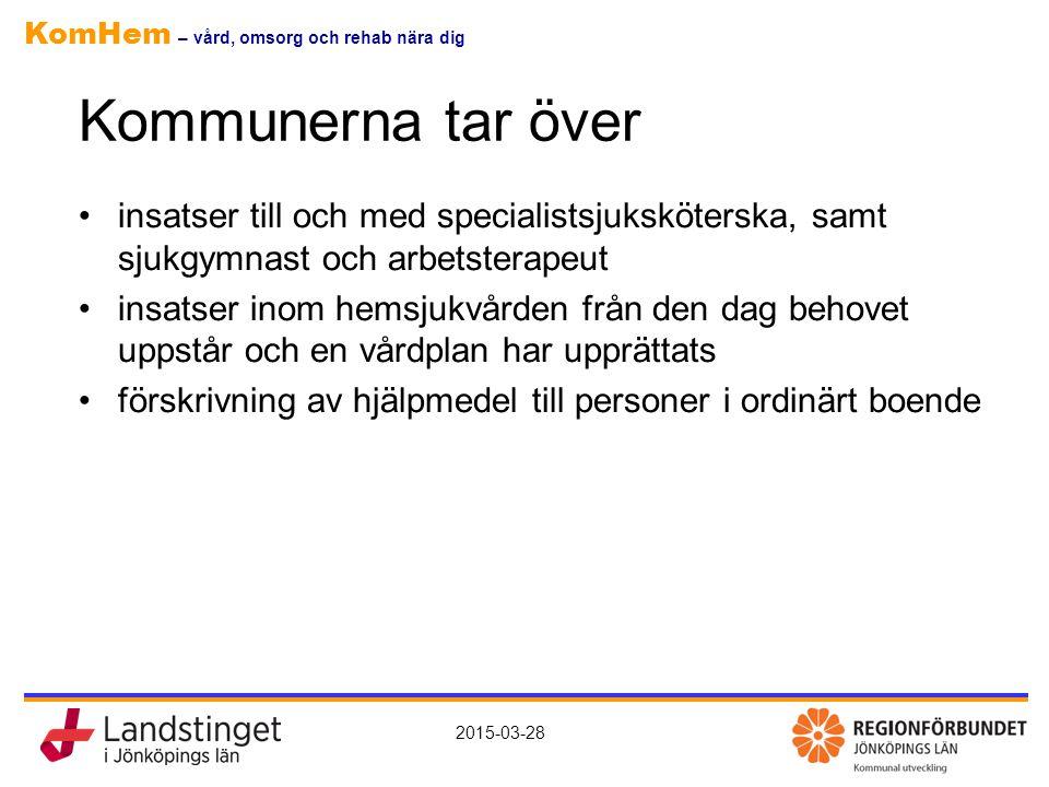 KomHem – vård, omsorg och rehab nära dig 2015-03-28 Kommunerna tar över insatser till och med specialistsjuksköterska, samt sjukgymnast och arbetstera