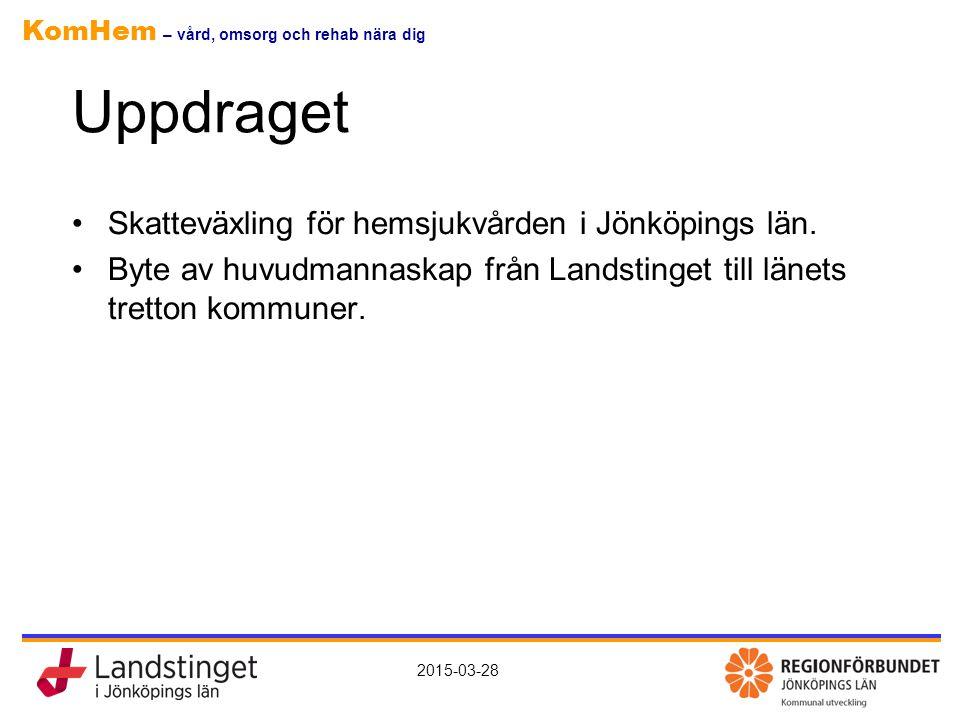 KomHem – vård, omsorg och rehab nära dig 2015-03-28 Uppdraget Skatteväxling för hemsjukvården i Jönköpings län. Byte av huvudmannaskap från Landstinge