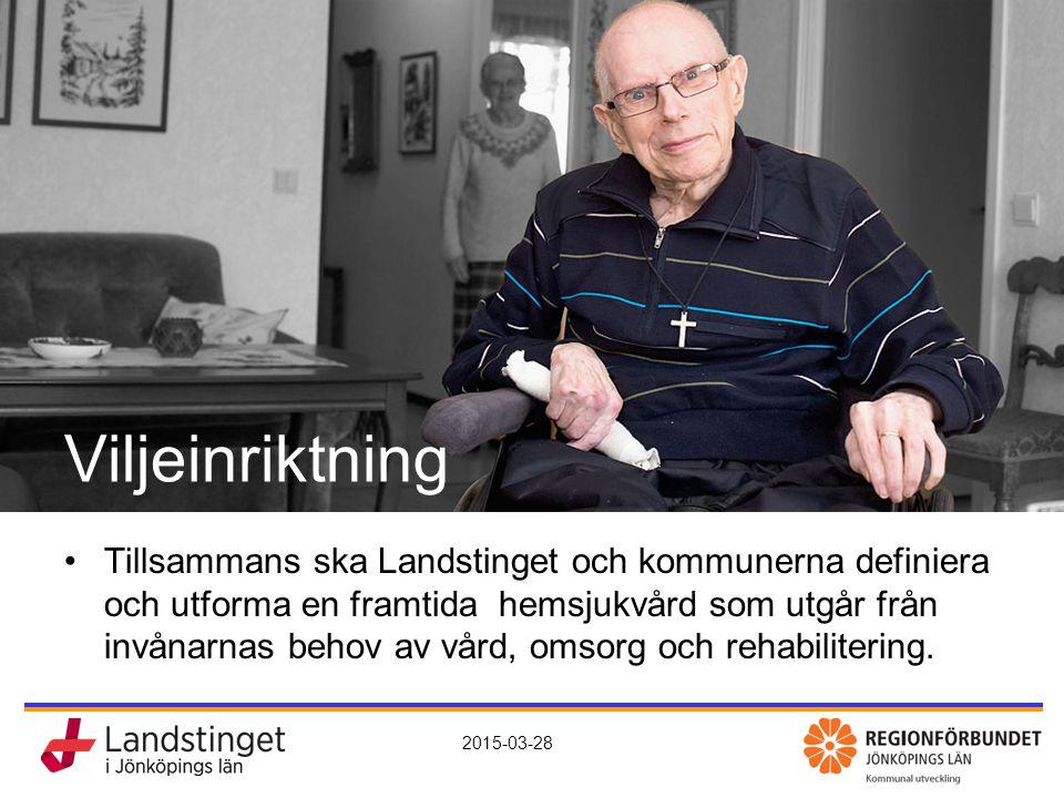 KomHem – vård, omsorg och rehab nära dig 2015-03-28 Viljeinriktning Tillsammans ska Landstinget och kommunerna definiera och utforma en framtida hemsj