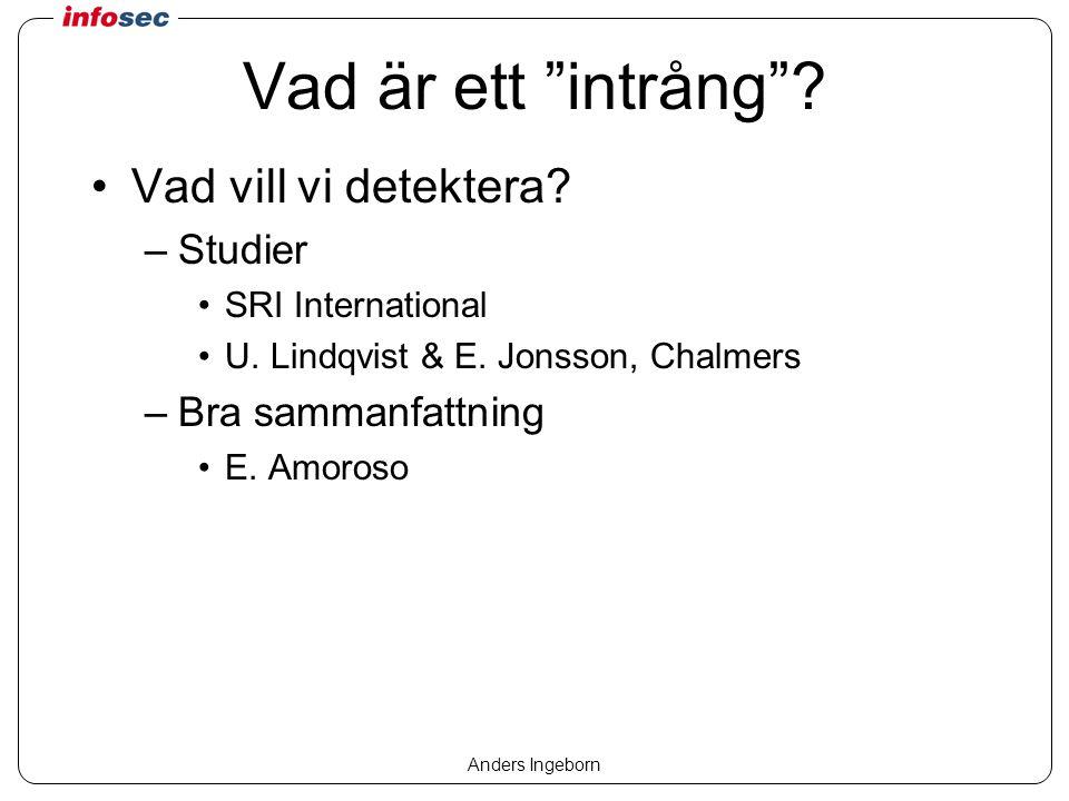 Anders Ingeborn Vad är ett intrång . Vad vill vi detektera.