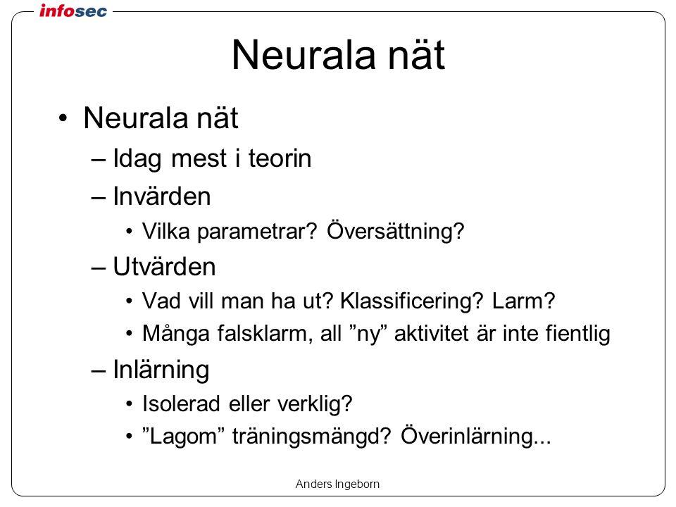 Anders Ingeborn Neurala nät –Idag mest i teorin –Invärden Vilka parametrar.