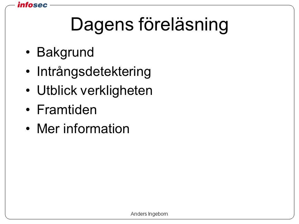 Anders Ingeborn Samla in information Allmänna systemloggar –Inloggningar –Omstarter –Tjänster Avlyssning –Sensorer / agenter Nätverksbaserad Datorbaserad