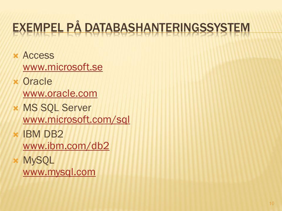 10  Access www.microsoft.se www.microsoft.se  Oracle www.oracle.com www.oracle.com  MS SQL Server www.microsoft.com/sql www.microsoft.com/sql  IBM DB2 www.ibm.com/db2 www.ibm.com/db2  MySQL www.mysql.com www.mysql.com