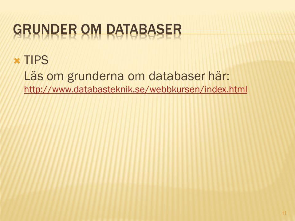 11  TIPS Läs om grunderna om databaser här: http://www.databasteknik.se/webbkursen/index.html http://www.databasteknik.se/webbkursen/index.html