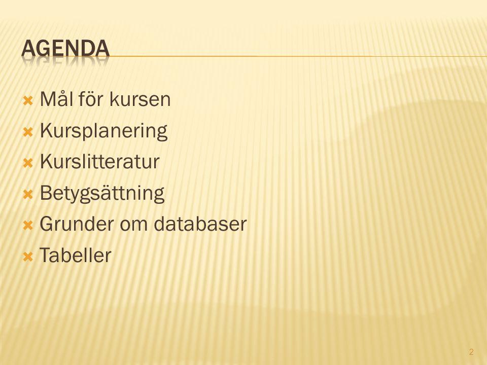 2  Mål för kursen  Kursplanering  Kurslitteratur  Betygsättning  Grunder om databaser  Tabeller