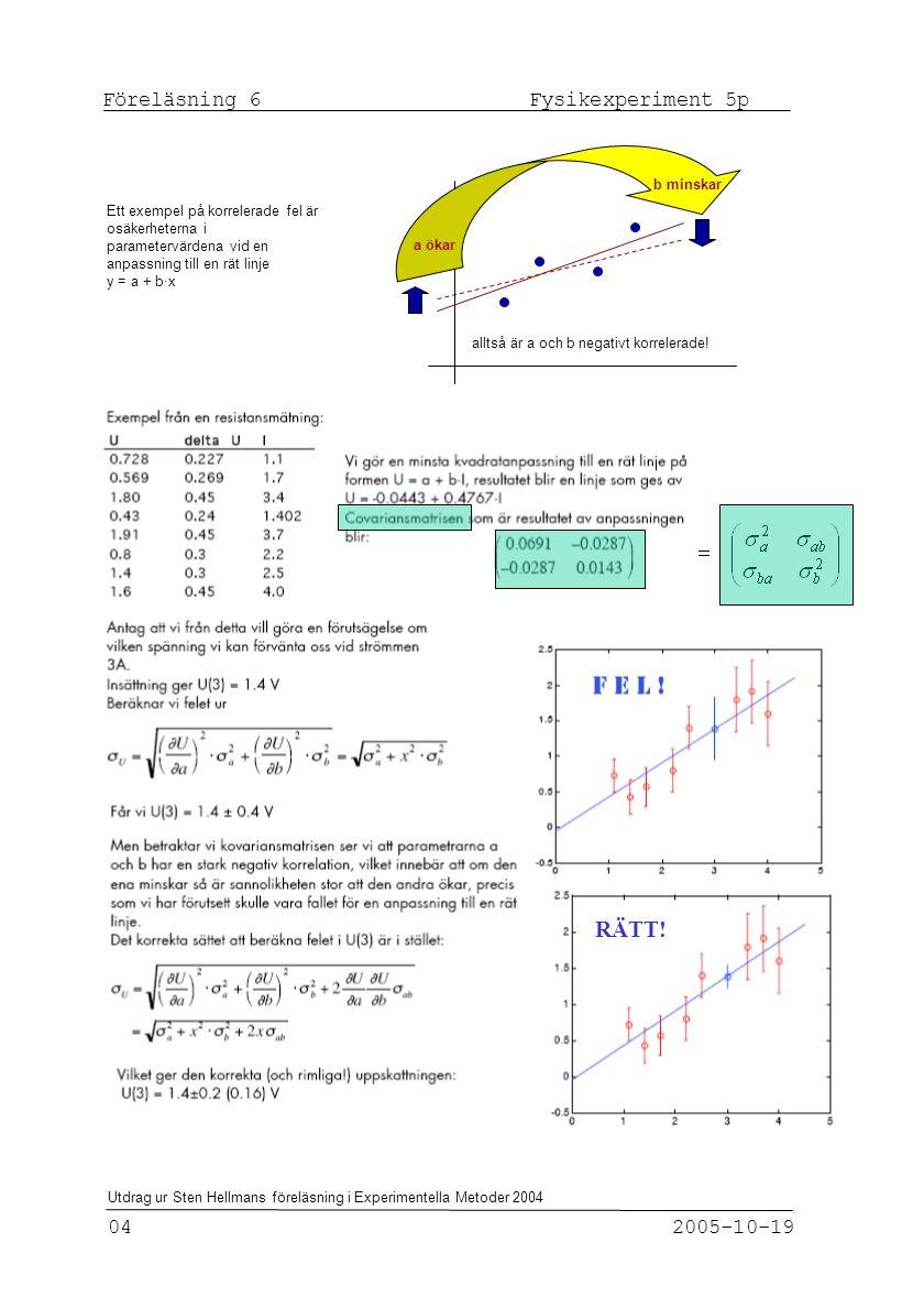 Föreläsning 6 Fysikexperiment 5p 04 2005-10-19 Utdrag ur Sten Hellmans föreläsning i Experimentella Metoder 2004 Ett exempel på korrelerade fel är osäkerheterna i parametervärdena vid en anpassning till en rät linje y = a + b·x alltså är a och b negativt korrelerade.