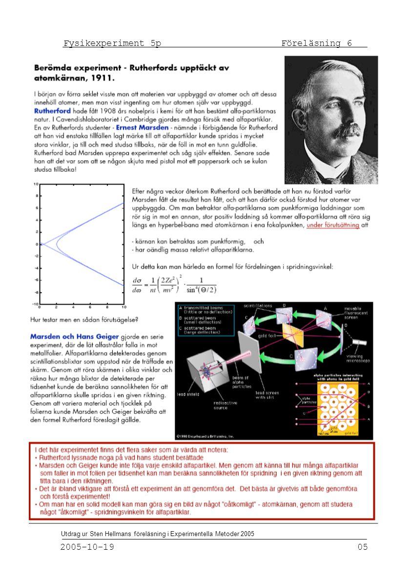 Fysikexperiment 5p Föreläsning 6 2005-10-19 05 Utdrag ur Sten Hellmans föreläsning i Experimentella Metoder 2005