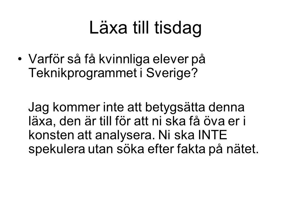 Läxa till tisdag Varför så få kvinnliga elever på Teknikprogrammet i Sverige? Jag kommer inte att betygsätta denna läxa, den är till för att ni ska få