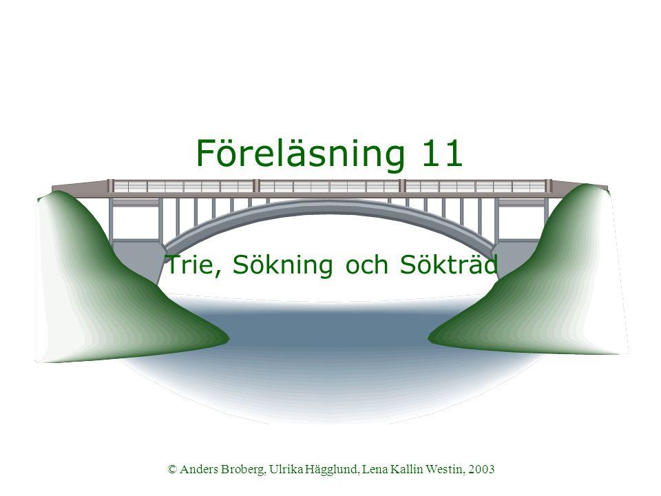 © Anders Broberg, Ulrika Hägglund, Lena Kallin Westin, 2003 Föreläsning 11 Trie, Sökning och Sökträd