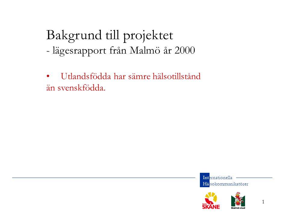 1 Internationella Hälsokommunikatörer Bakgrund till projektet - lägesrapport från Malmö år 2000 Utlandsfödda har sämre hälsotillstånd än svenskfödda.