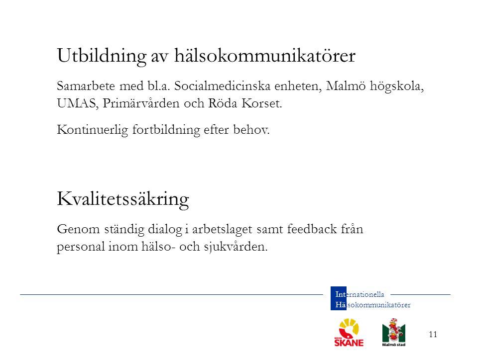 11 Internationella Hälsokommunikatörer Utbildning av hälsokommunikatörer Samarbete med bl.a.
