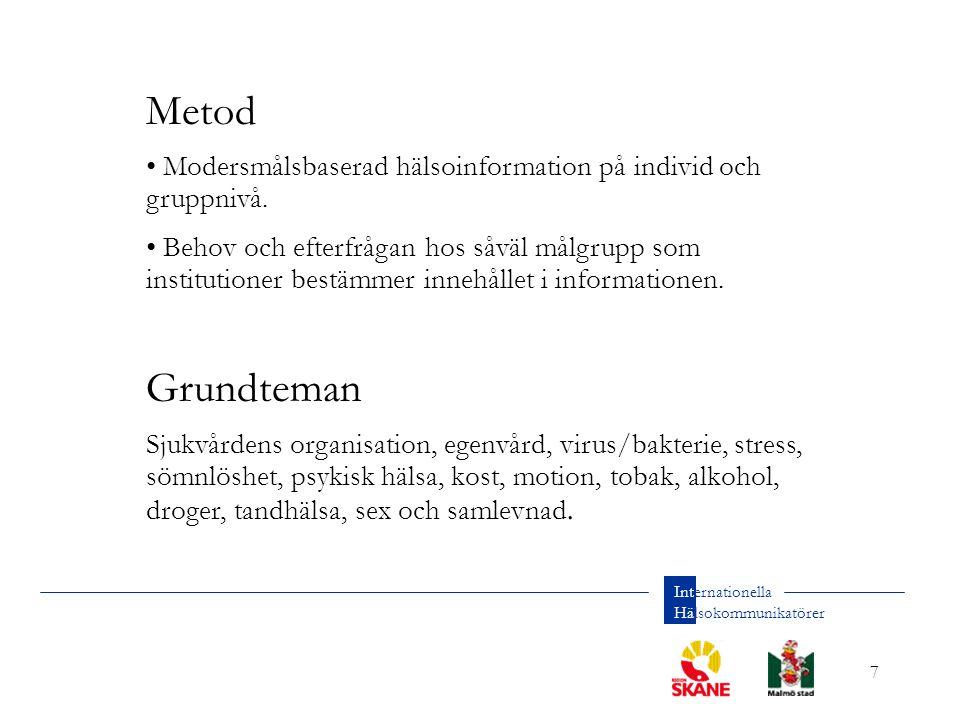 7 Internationella Hälsokommunikatörer Metod Modersmålsbaserad hälsoinformation på individ och gruppnivå.