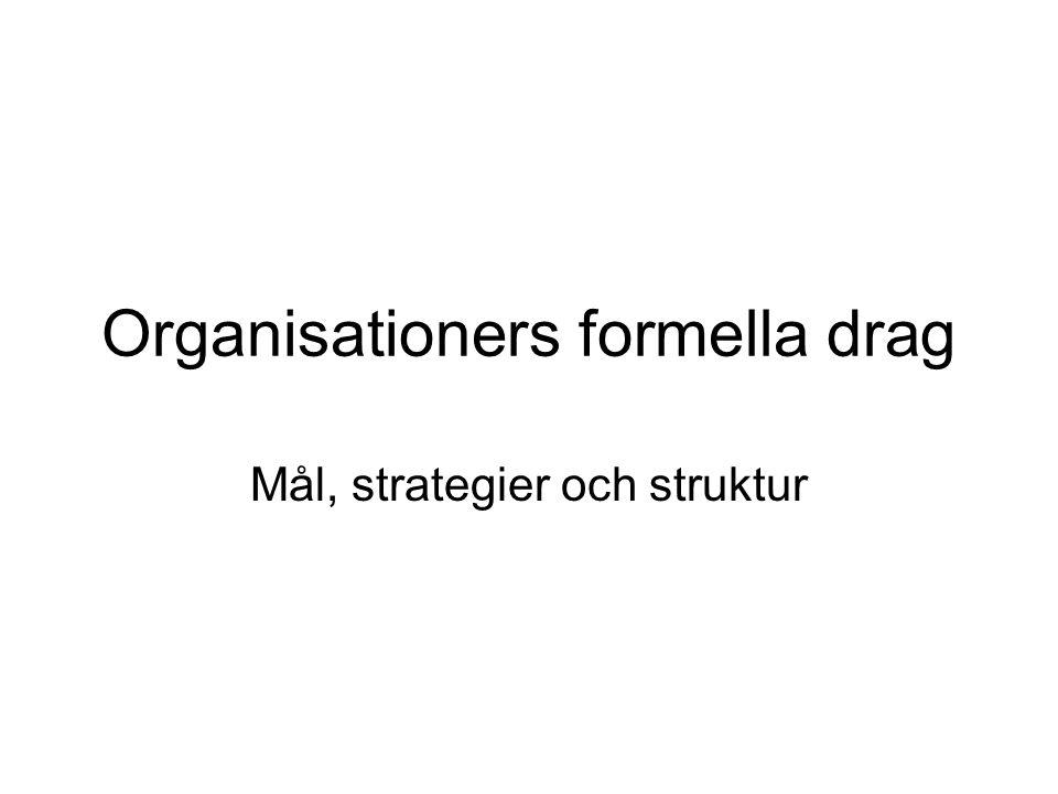 Organisationers formella drag Mål, strategier och struktur