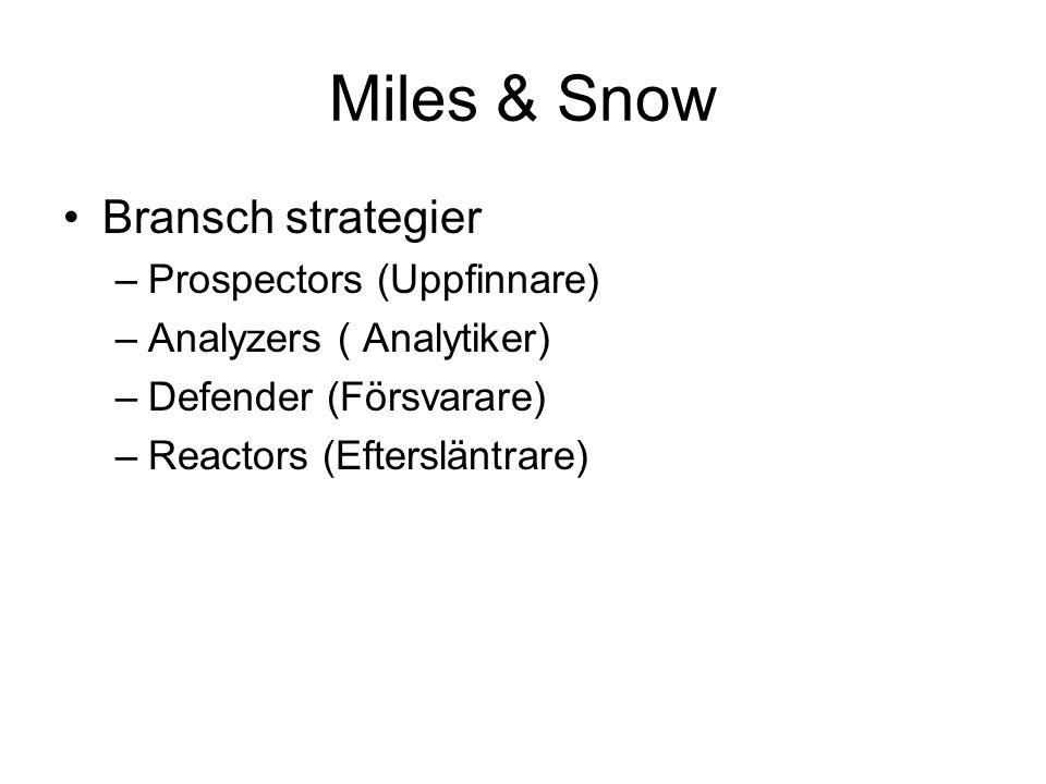 Miles & Snow Bransch strategier –Prospectors (Uppfinnare) –Analyzers ( Analytiker) –Defender (Försvarare) –Reactors (Eftersläntrare)