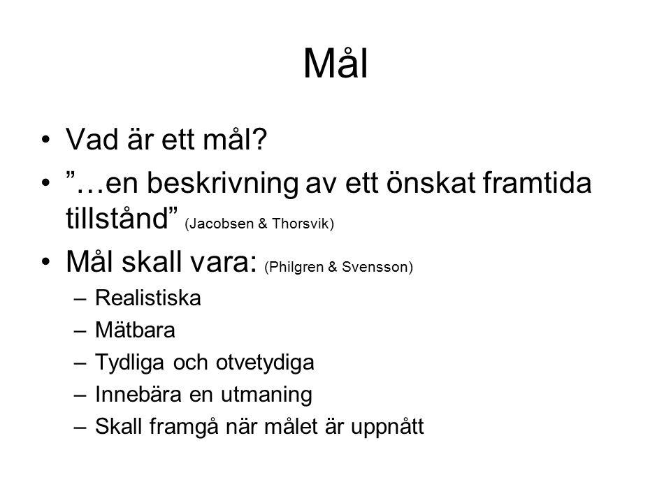 """Mål Vad är ett mål? """"…en beskrivning av ett önskat framtida tillstånd"""" (Jacobsen & Thorsvik) Mål skall vara: (Philgren & Svensson) –Realistiska –Mätba"""