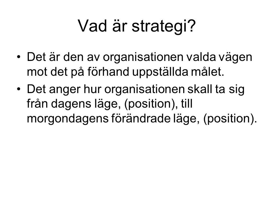 Vad är strategi? Det är den av organisationen valda vägen mot det på förhand uppställda målet. Det anger hur organisationen skall ta sig från dagens l