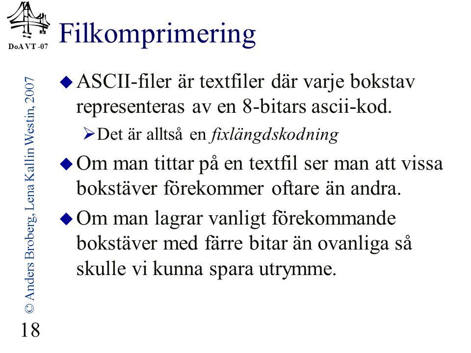 DoA VT -07 © Anders Broberg, Lena Kallin Westin, 2007 18 Filkomprimering  ASCII-filer är textfiler där varje bokstav representeras av en 8-bitars ascii-kod.