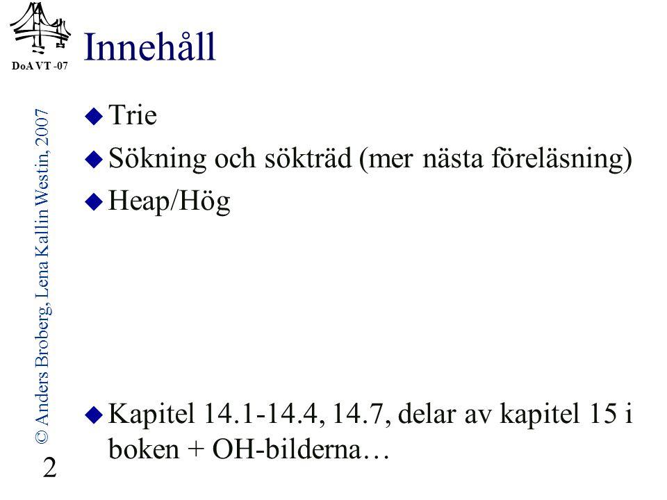 DoA VT -07 © Anders Broberg, Lena Kallin Westin, 2007 23 Exempel Huffmankodning  ABRACADABRA A 5/11 B 2/11 R 2/11 C 1/11 D 1/11 C 1/11 D 1/11 2/11 B 2/11 R 2/11 4/116/11 A 5/11 11/11 ABRACADABRA blir nu 23 bitar 0 100 101 0 110 0 111 0 100 101 0