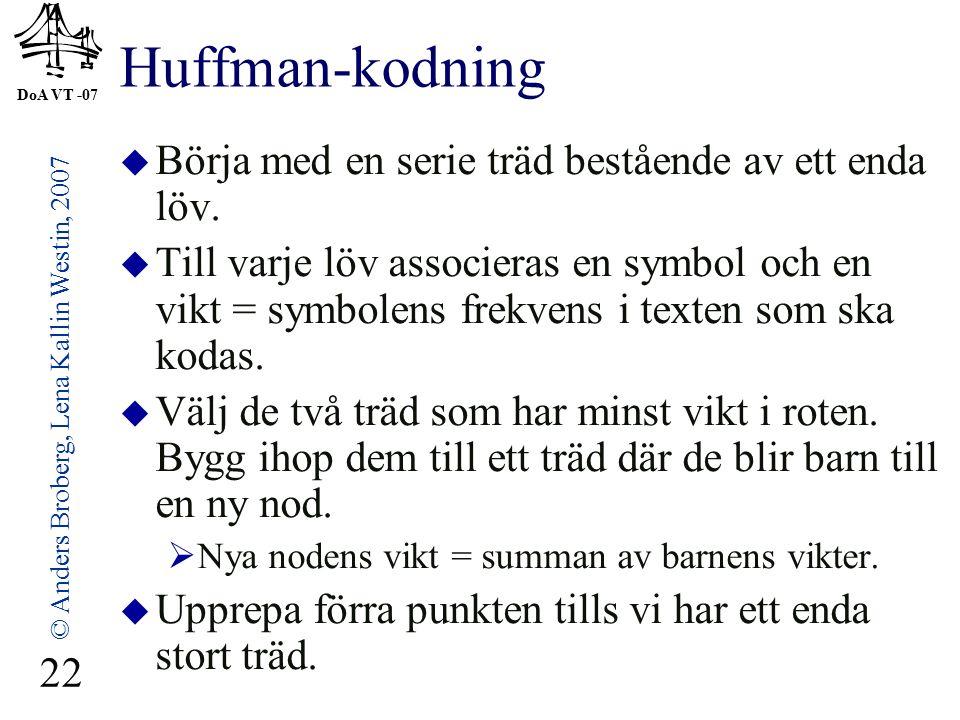 DoA VT -07 © Anders Broberg, Lena Kallin Westin, 2007 22 Huffman-kodning  Börja med en serie träd bestående av ett enda löv.