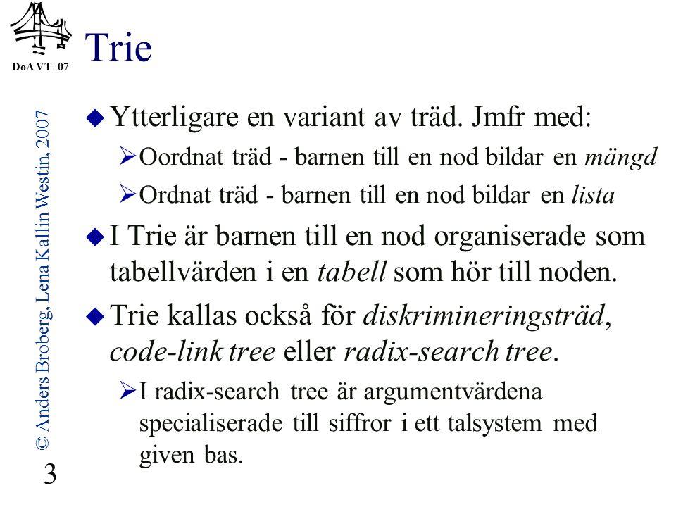 DoA VT -07 © Anders Broberg, Lena Kallin Westin, 2007 24 Binärt sökträd  Används för sökning i linjära samlingar av dataobjekt, specifikt för att konstruera tabeller och lexikon.