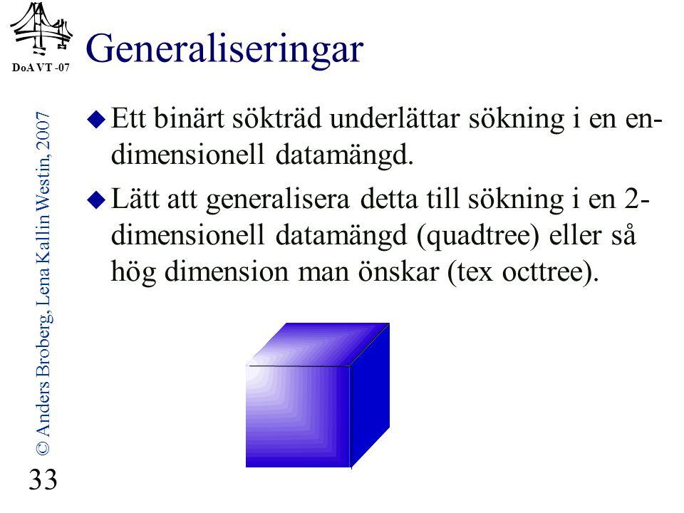 DoA VT -07 © Anders Broberg, Lena Kallin Westin, 2007 33 Generaliseringar  Ett binärt sökträd underlättar sökning i en en- dimensionell datamängd.