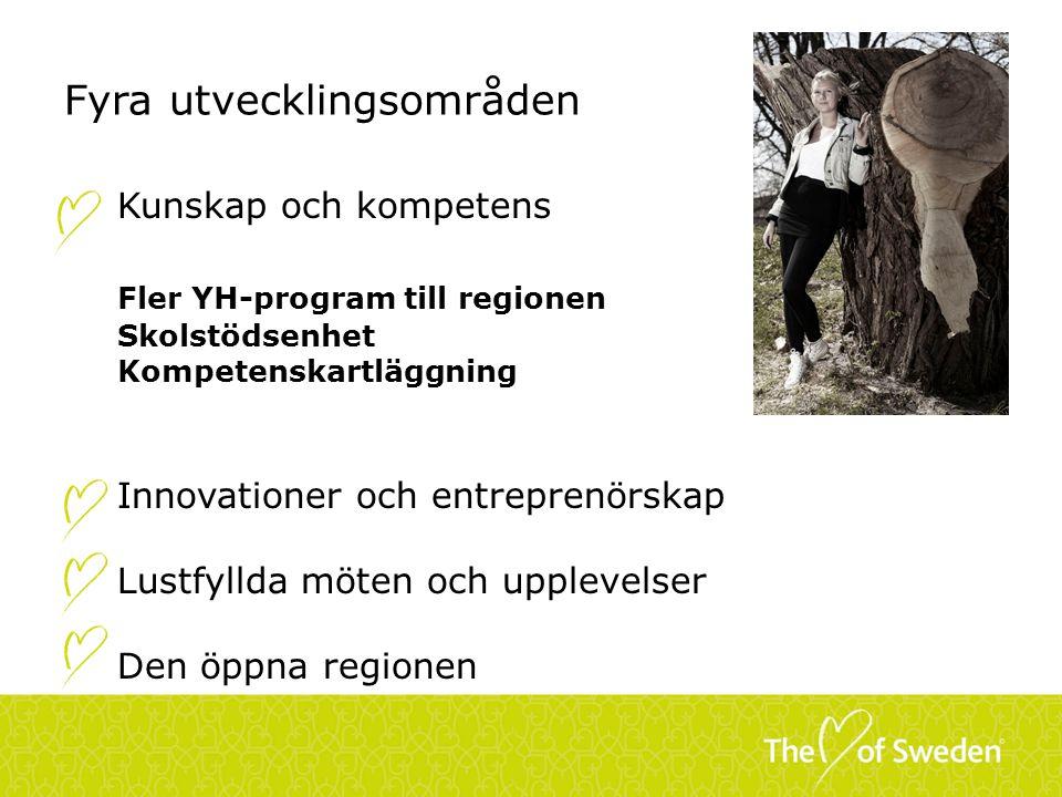 Fyra utvecklingsområden Kunskap och kompetens Fler YH-program till regionen Skolstödsenhet Kompetenskartläggning Innovationer och entreprenörskap Lust