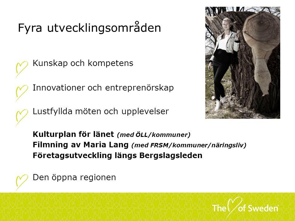 Fyra utvecklingsområden Kunskap och kompetens Innovationer och entreprenörskap Lustfyllda möten och upplevelser Kulturplan för länet (med ÖLL/kommuner