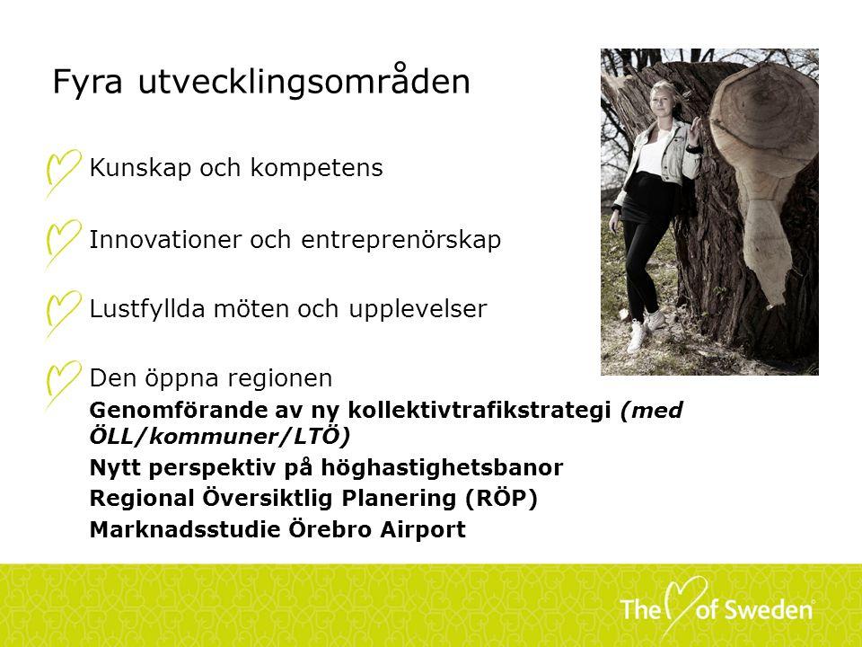 Fyra utvecklingsområden Kunskap och kompetens Innovationer och entreprenörskap Lustfyllda möten och upplevelser Den öppna regionen Genomförande av ny