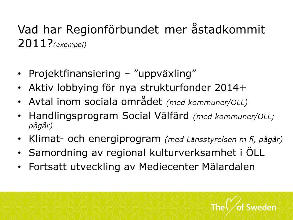 """Vad har Regionförbundet mer åstadkommit 2011? (exempel) Projektfinansiering – """"uppväxling"""" Aktiv lobbying för nya strukturfonder 2014+ Avtal inom soci"""