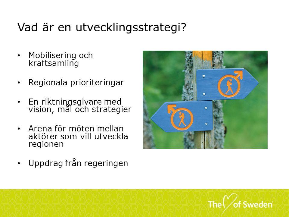 Vad är en utvecklingsstrategi? Mobilisering och kraftsamling Regionala prioriteringar En riktningsgivare med vision, mål och strategier Arena för möte