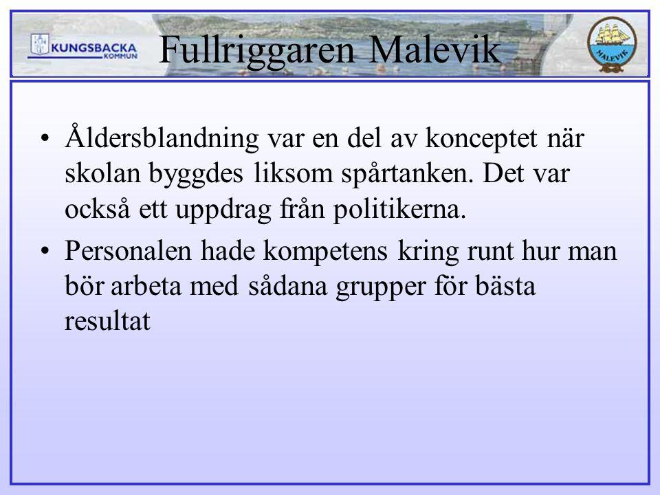 Fullriggaren Malevik Åldersblandning var en del av konceptet när skolan byggdes liksom spårtanken. Det var också ett uppdrag från politikerna. Persona