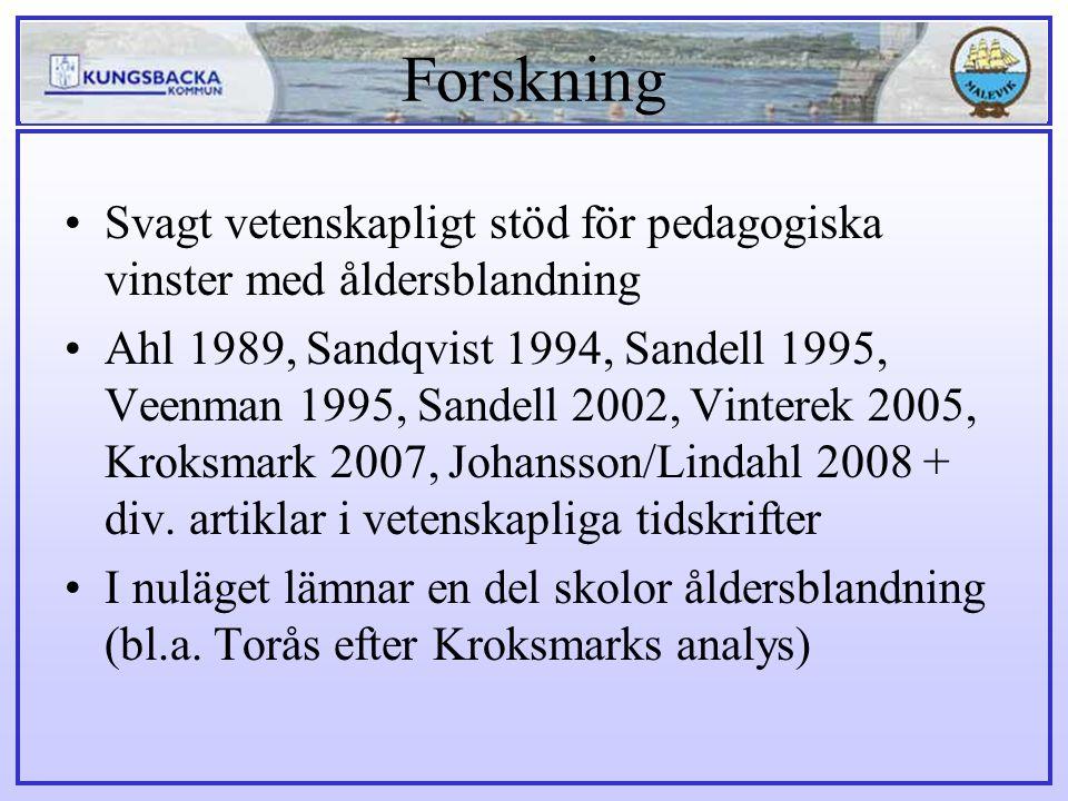 Forskning Svagt vetenskapligt stöd för pedagogiska vinster med åldersblandning Ahl 1989, Sandqvist 1994, Sandell 1995, Veenman 1995, Sandell 2002, Vin