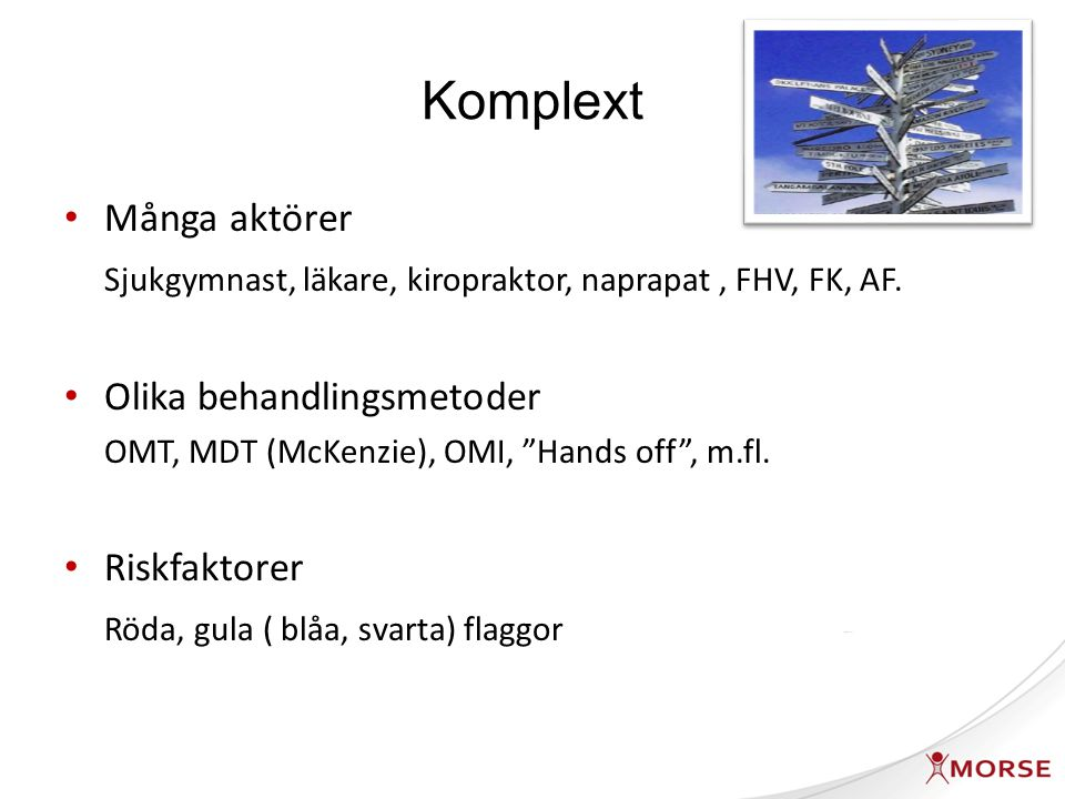 Komplext Många aktörer Sjukgymnast, läkare, kiropraktor, naprapat, FHV, FK, AF.