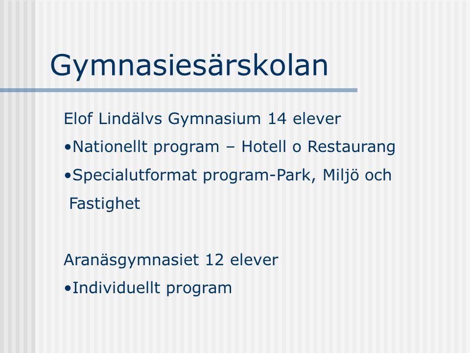 Gymnasiesärskolan Elof Lindälvs Gymnasium 14 elever Nationellt program – Hotell o Restaurang Specialutformat program-Park, Miljö och Fastighet Aranäsg