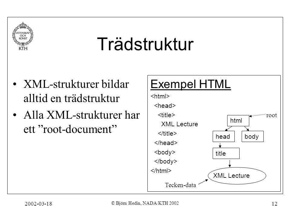 """2002-03-18 © Björn Hedin, NADA/KTH 2002 12 Trädstruktur XML-strukturer bildar alltid en trädstruktur Alla XML-strukturer har ett """"root-document"""" Exemp"""