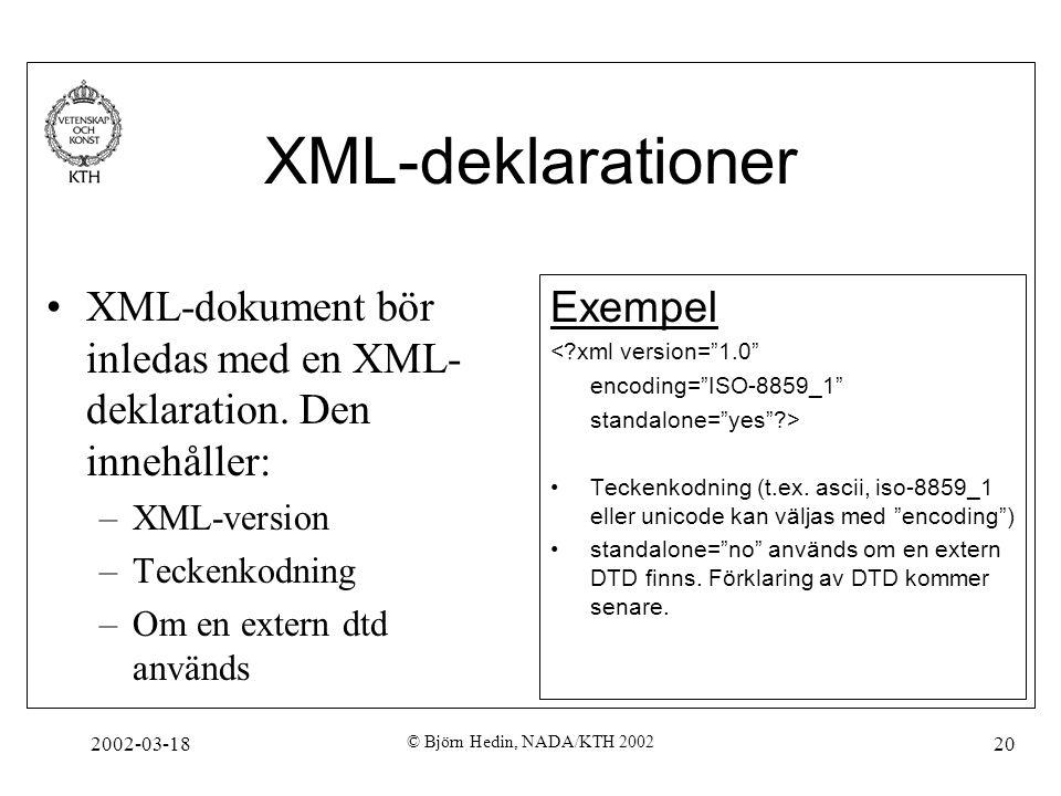 2002-03-18 © Björn Hedin, NADA/KTH 2002 20 XML-deklarationer XML-dokument bör inledas med en XML- deklaration. Den innehåller: –XML-version –Teckenkod
