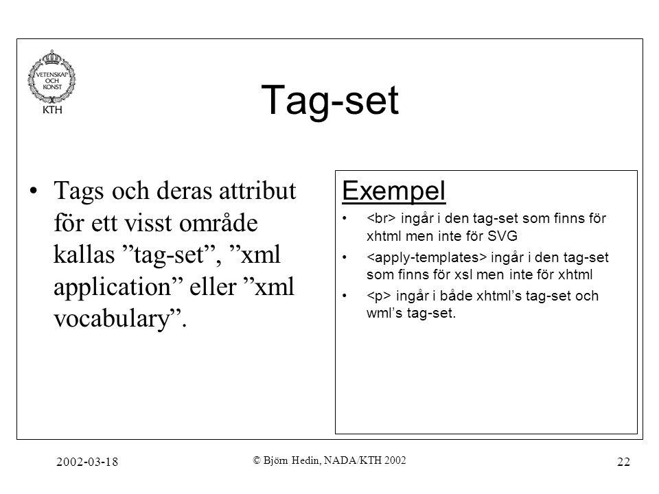 """2002-03-18 © Björn Hedin, NADA/KTH 2002 22 Tag-set Tags och deras attribut för ett visst område kallas """"tag-set"""", """"xml application"""" eller """"xml vocabul"""