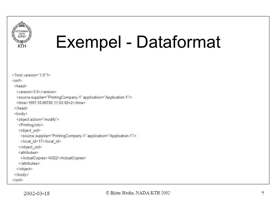 2002-03-18 © Björn Hedin, NADA/KTH 2002 7 Exempel - Dataformat 3.0 1997-10-06T00:11:00.00+2 17 14322