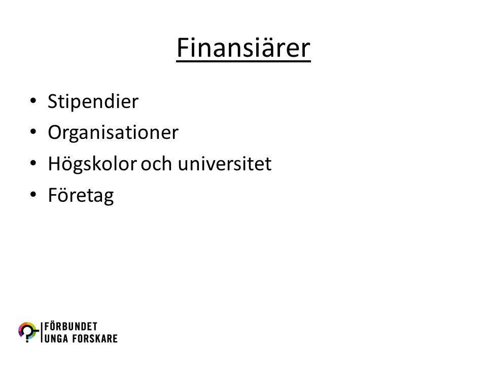 Finansiärer Stipendier Organisationer Högskolor och universitet Företag