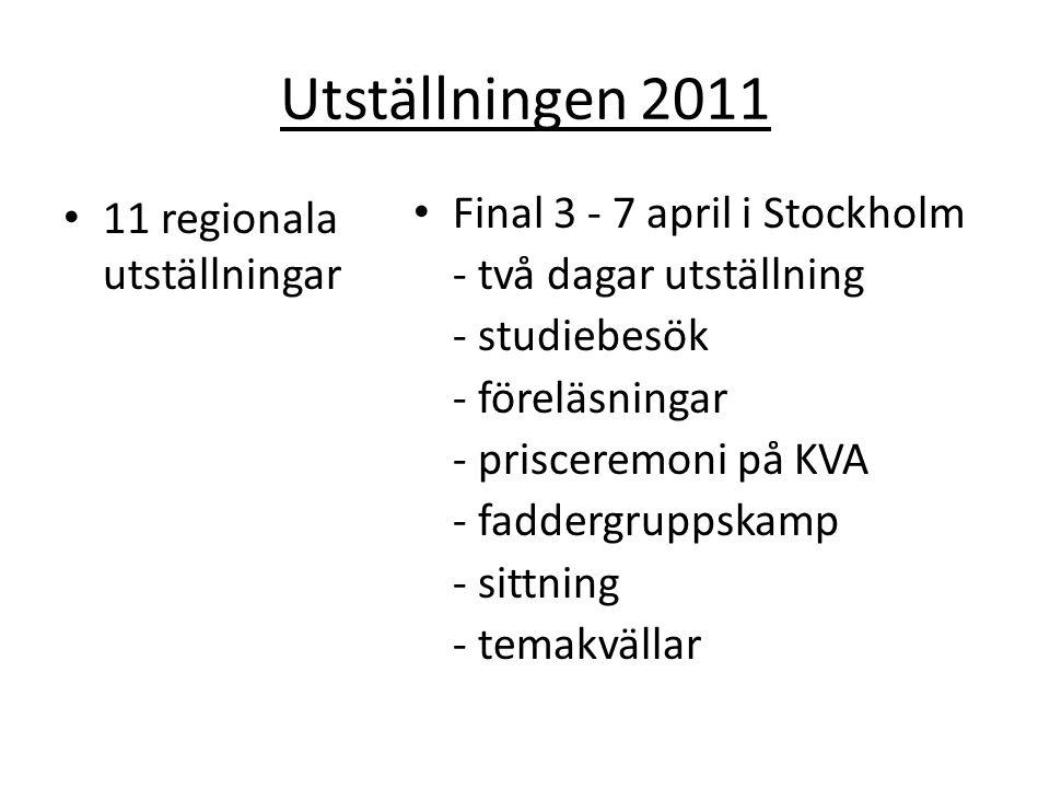 Utställningen 2011 11 regionala utställningar Final 3 - 7 april i Stockholm - två dagar utställning - studiebesök - föreläsningar - prisceremoni på KVA - faddergruppskamp - sittning - temakvällar
