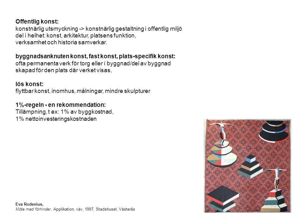 Eva Rodenius, Möte med förhinder, Applikation, väv, 1997, Stadshuset, Västerås Offentlig konst: konstnärlig utsmyckning -> konstnärlig gestaltning i offentlig miljö del i helhet: konst, arkitektur, platsens funktion, verksamhet och historia samverkar.