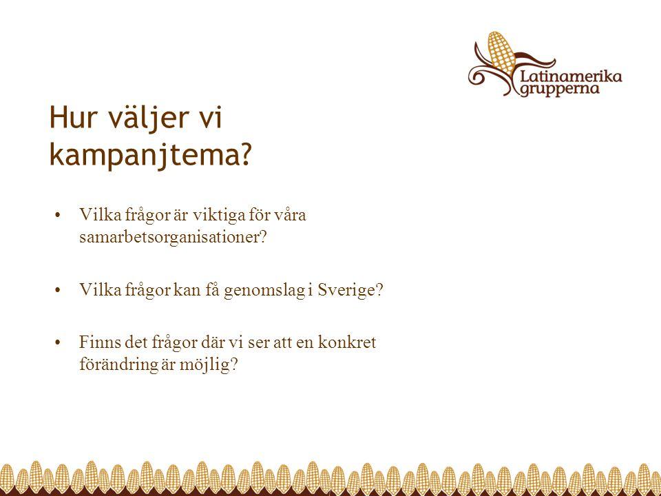 Hur väljer vi kampanjtema? Vilka frågor är viktiga för våra samarbetsorganisationer? Vilka frågor kan få genomslag i Sverige? Finns det frågor där vi