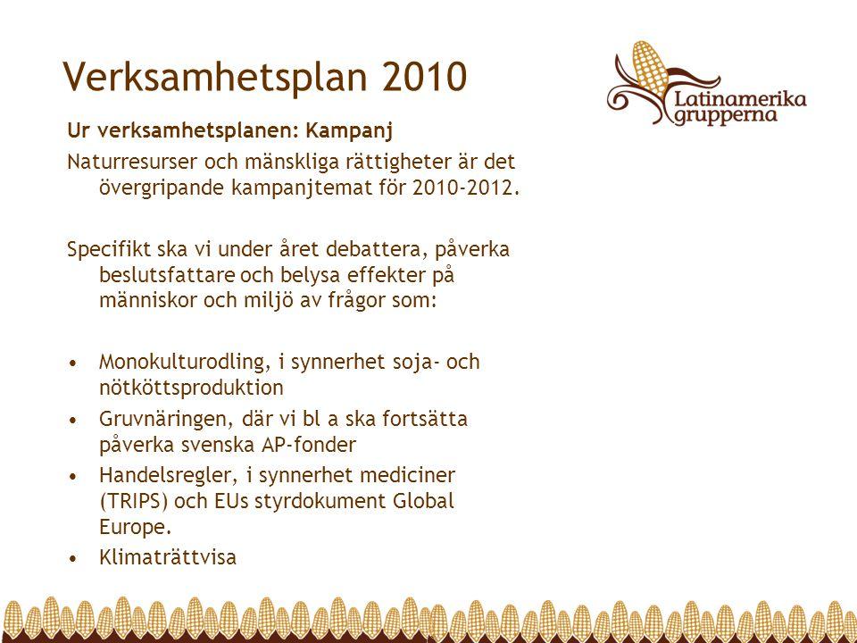 Verksamhetsplan 2010 Ur verksamhetsplanen: Kampanj Naturresurser och mänskliga rättigheter är det övergripande kampanjtemat för 2010-2012. Specifikt s