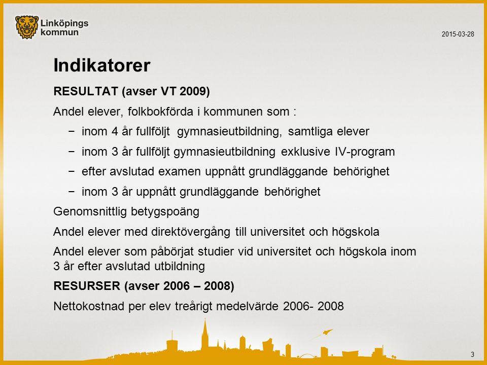 Nettokostnad per elev treårigt medelvärde 2006- 2008 Procentuell avvikelse från standardkostnad 2015-03-28 14 % avvikelse Rang- ordning Eskilstuna-12,78 Norrköping-10,219 Örebro-10,120 Jönköping-9,323 Västerås-8,426 Växjö-6,536 Lund-3,760 Linköping-0,196 Karlstad1,2116 Uppsala4,8174 Umeå8,1217