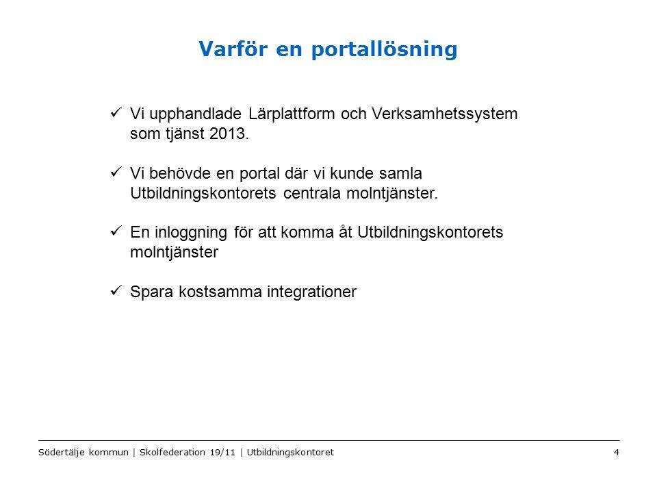 Color2 Sv Varför en portallösning Södertälje kommun | Skolfederation 19/11 | Utbildningskontoret4 Vi upphandlade Lärplattform och Verksamhetssystem som tjänst 2013.