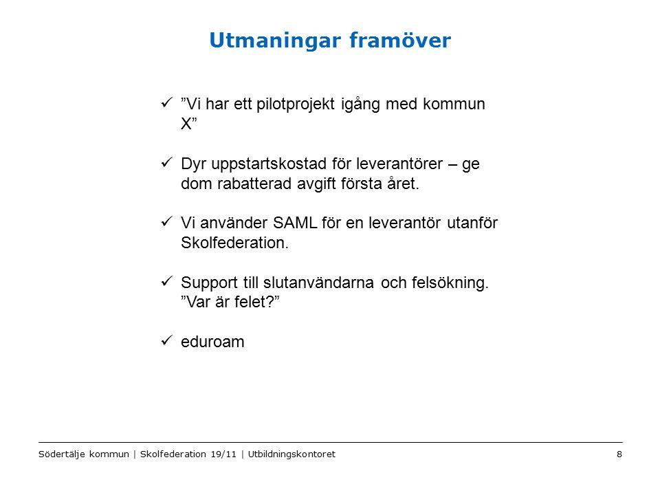 Color2 Sv Utmaningar framöver Södertälje kommun | Skolfederation 19/11 | Utbildningskontoret8 Vi har ett pilotprojekt igång med kommun X Dyr uppstartskostad för leverantörer – ge dom rabatterad avgift första året.