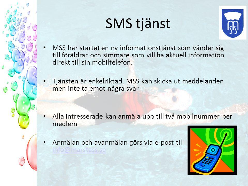 SMS tjänst MSS har startat en ny informationstjänst som vänder sig till föräldrar och simmare som vill ha aktuell information direkt till sin mobiltelefon.