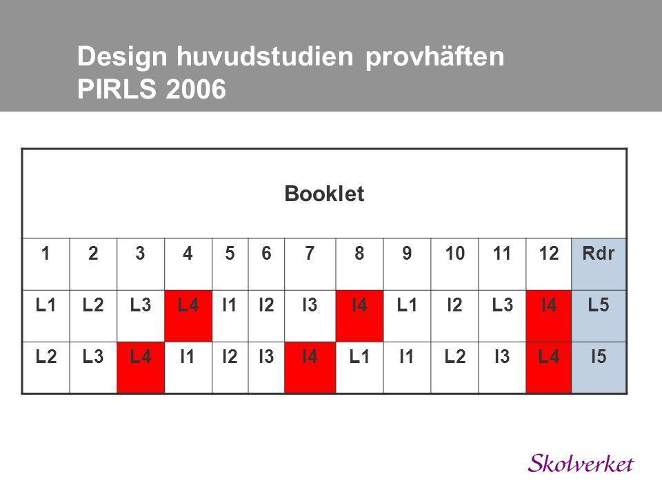 Booklet 123456789101112Rdr L1L2L3L4I1I2I3I4L1I2L3I4L5 L2L3L4I1I2I3I4L1I1L2I3L4I5 Design huvudstudien provhäften PIRLS 2006