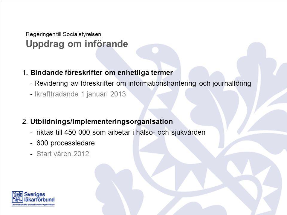 1. Bindande föreskrifter om enhetliga termer - Revidering av föreskrifter om informationshantering och journalföring - Ikraftträdande 1 januari 2013 2